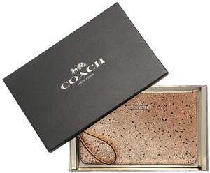 Coach Holiday Gift Box Limited Edition Glitter Wristlet in Gold Silver