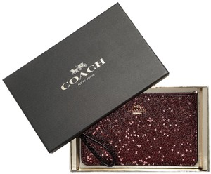 Coach Holiday Gift Box Limited Edition Glitter Red Wristlet in Raspberry