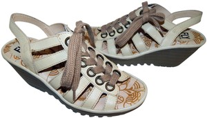 FLY London Yito Lace-up Open Toe Leather Beige Wedges