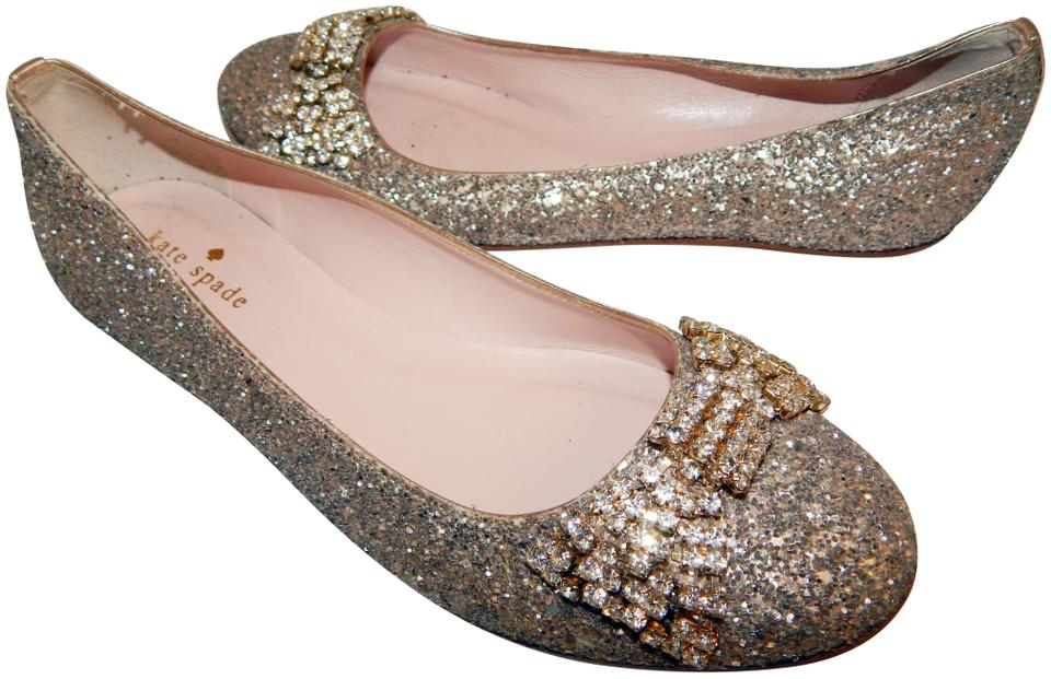 39dc17416166 Kate Spade Rose Gold Glitter Jeweled Bow Ballet Flats Size US 7.5 ...