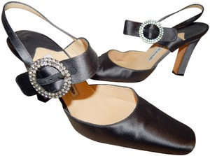 Manolo Blahnik Jewel Crystal Steel Gray Pumps