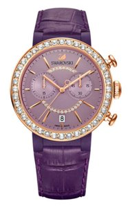 Swarovski Swarovski Crystal CITRA CHRONO Wristwatch Purple Rose Gold Signed
