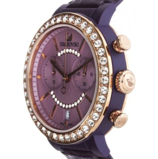Swarovski Swarovski Crystal CITRA CHRONO Wristwatch Purple Rose Gold Signed Image 1