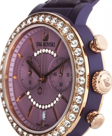 Swarovski Swarovski Crystal CITRA CHRONO Wristwatch Purple Rose Gold Signed Image 2