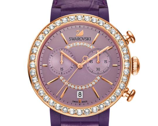 Swarovski Swarovski Crystal CITRA CHRONO Wristwatch Purple Rose Gold Signed Image 3