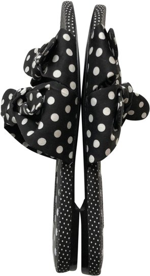Charles David Open Toe Textile Upper Leather Sole Polka Dot Pattern Dual Knot Straps Black White Sandals Image 2