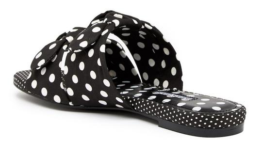 Charles David Open Toe Textile Upper Leather Sole Polka Dot Pattern Dual Knot Straps Black White Sandals Image 3