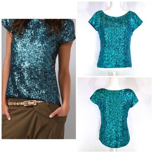 Alice + Olivia Sequin Silk Party Date Top Teal Blue