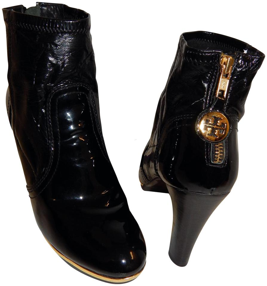 19482398eaf073 Tory Burch Melrose Ankle Patent Leather Medallion Black Boots Image 0 ...