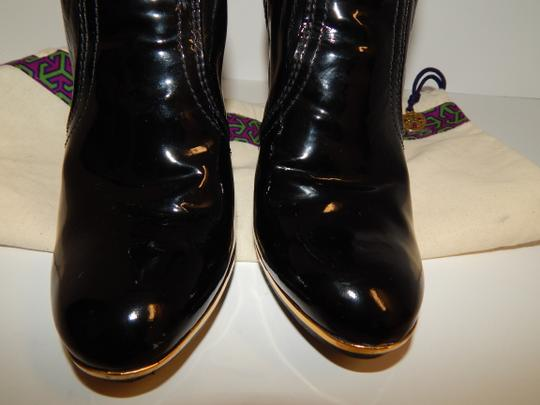 Tory Burch Melrose Ankle Patent Leather Medallion Black Boots Image 11