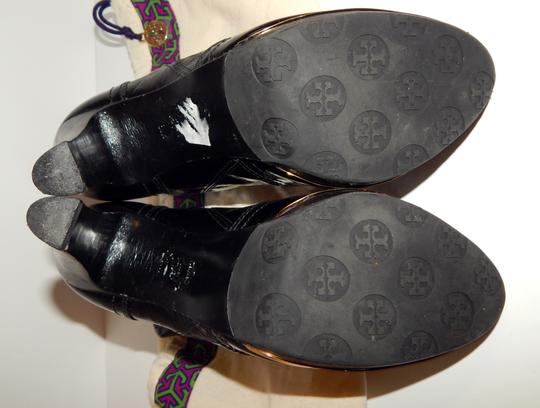 Tory Burch Melrose Ankle Patent Leather Medallion Black Boots Image 3