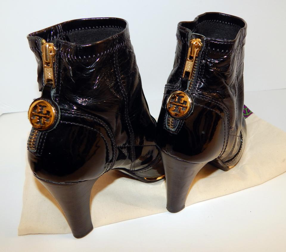 314cc949c42f5 Tory Burch Melrose Ankle Patent Leather Medallion Black Boots Image 11.  123456789101112