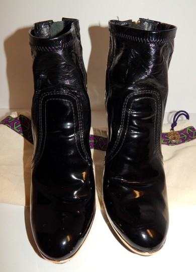 Tory Burch Melrose Ankle Patent Leather Medallion Black Boots Image 9