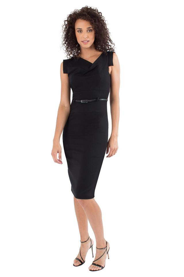 40b88ce20901 Black Halo Belted Classic Jackie O Midi Mid-length Cocktail Dress ...
