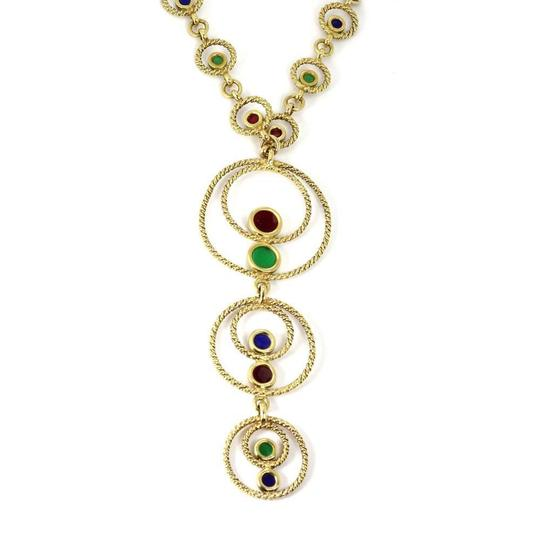 Other Vintage 18k Yellow Gold Multicolor Enamel Circle Link Lariat Necklace Image 2