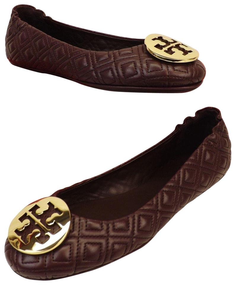 dd70f51a1 Tory Burch Red Minnie Malbec Quilted Leather Gold Reva Ballet Flats ...