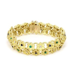 Other Estate Diamond Sapphire Emerald 18k Yellow Gold Clover Floral Bracelet