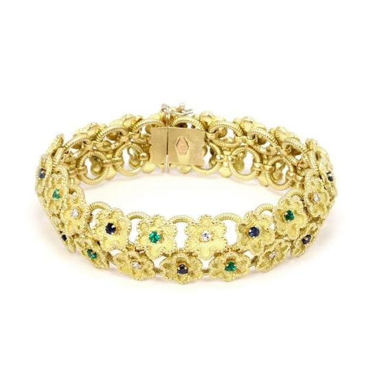 Preload https://img-static.tradesy.com/item/24503016/estate-diamond-sapphire-emerald-18k-yellow-gold-clover-floral-bracelet-0-0-540-540.jpg