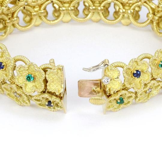 Other Estate Diamond Sapphire Emerald 18k Yellow Gold Clover Floral Bracelet Image 2