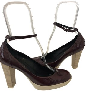 Tod's T-strap Sandal Leather Wood BROWN Platforms