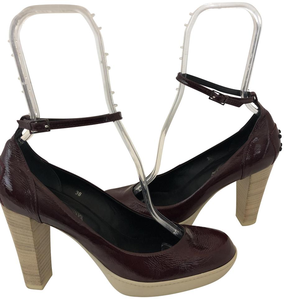 836d31d50eb Tod s Brown 1211118 Maroon Patent Maryjane Ankle Strap Rubber Sole ...