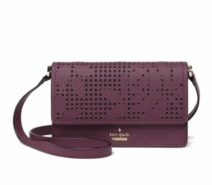Kate Spade Credit Card Slots Compact Detachable Strap Deep Plum Cross Body Bag