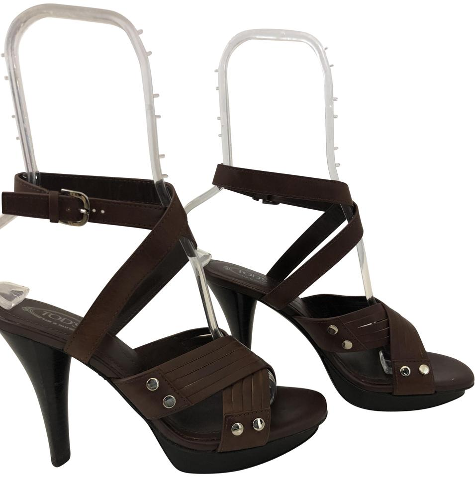 603ec7d6c95a6 Tod s Brown 1211118 Strappy Sandal Platforms Size EU 37.5 (Approx. US 7.5)  Regular (M