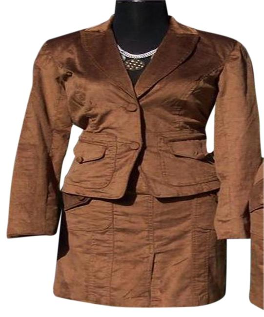 Item - Brown Thin Cord Lined Jacket Top New Skirt Suit Size 4 (S)