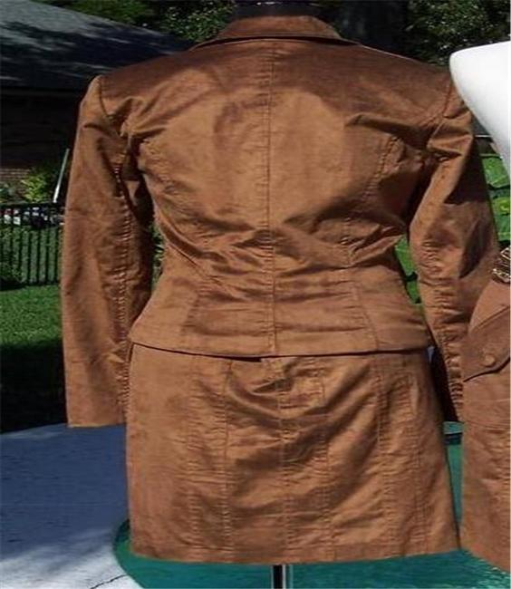 Cache Cocoa Brown Thin Cord Lined Suit Jacket Top New $178 Image 1