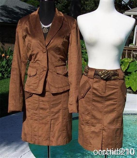 Cache Cocoa Brown Thin Cord Lined Suit Jacket Top New $178 Image 2