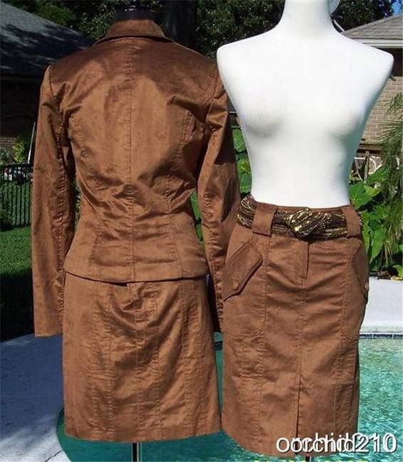 Cache Cocoa Brown Thin Cord Lined Suit Jacket Top New $178 Image 3
