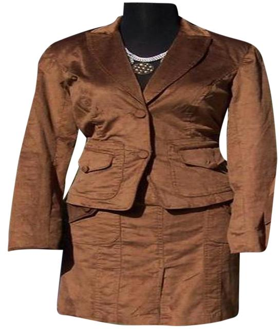 Item - Brown Thin Cord Lined Jacket Top New Skirt Suit Size 6 (S)