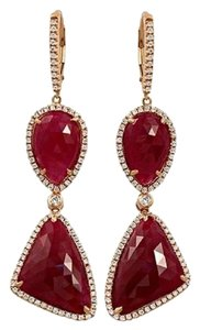 None Rose Cut Sliced 29 CT Natural Ruby 0.96 CT Diamonds 14K Rose Gold Drop