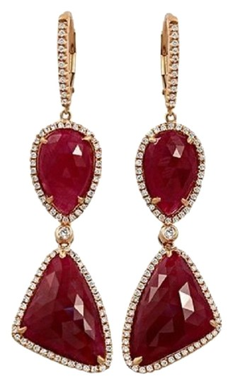 Preload https://img-static.tradesy.com/item/24503355/rose-cut-sliced-29-ct-natural-ruby-096-ct-diamonds-14k-rose-gold-drop-earrings-0-1-540-540.jpg