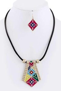 unknown Tribal Inspired Pendant Cord Necklace Set/