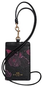 Coach NWT COACH Signature Lanyard Badge Holder Black Wine Halftone Floral