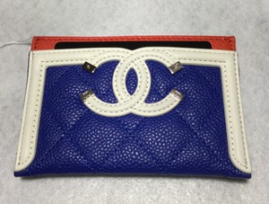 Chanel Chanel Caviar Quilted CC Filigree Vanity Card Holder 19C Royal Blue