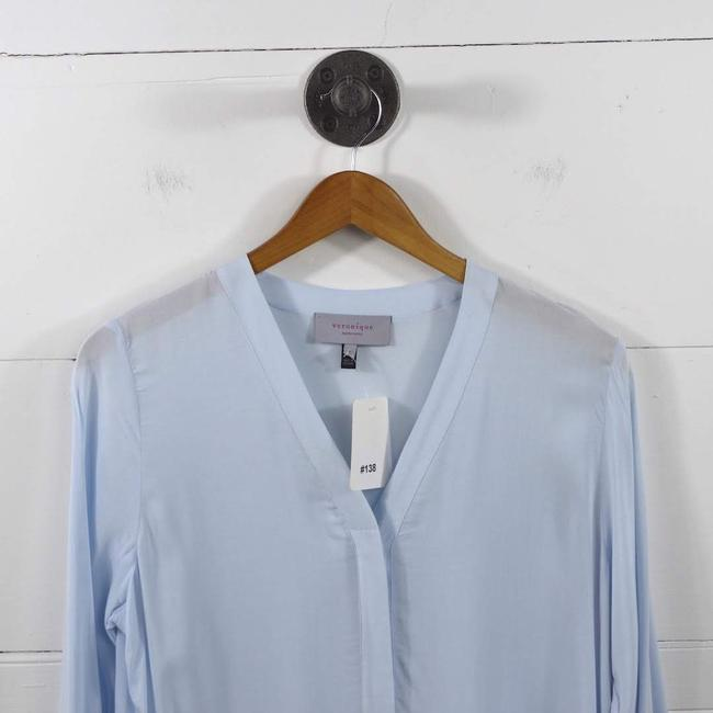veronique Fall Winter Maternity Casual Date Night Top BLUE Image 1
