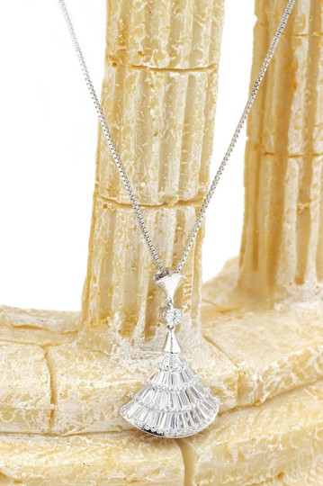Ocean Fashion Sterling silver Sparkling crystal dress necklace Image 4