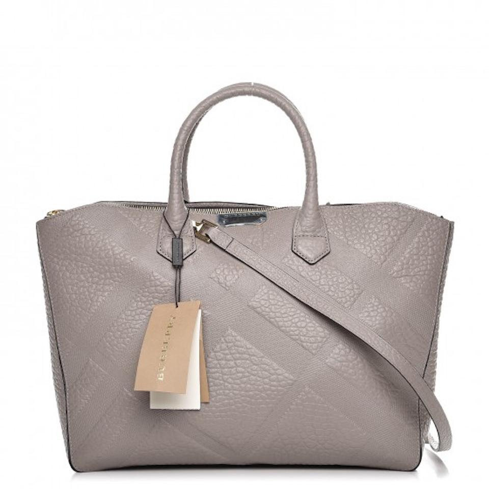 2d04261035 Burberry Grainy Check Dewsbury Purse Medium Pale Grey Leather Tote ...