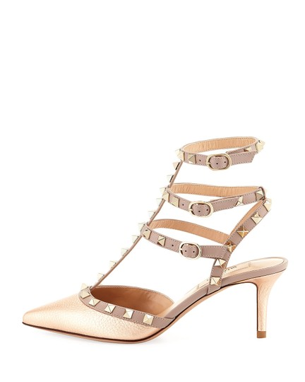 Valentino Rockstud Ankle Strap Platino Caged Champagne Pumps Image 1
