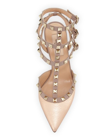 Valentino Rockstud Ankle Strap Platino Caged Champagne Pumps Image 2