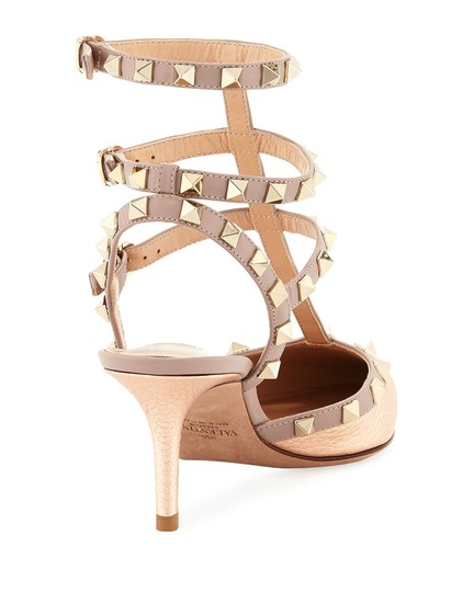 Valentino Rockstud Ankle Strap Platino Caged Champagne Pumps Image 3