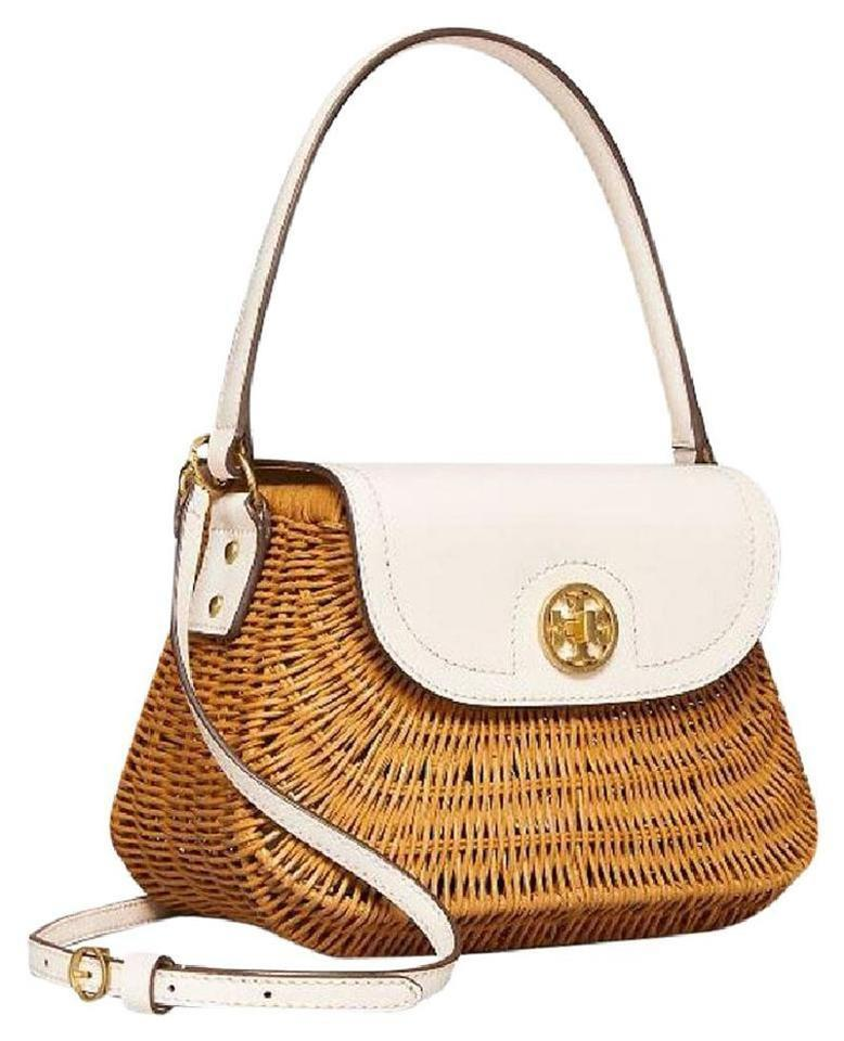 1bfea2c017769 Tory Burch Crossbody Lacquered Wicker Basket Ivory/Natural Rattan/Leather  Satchel