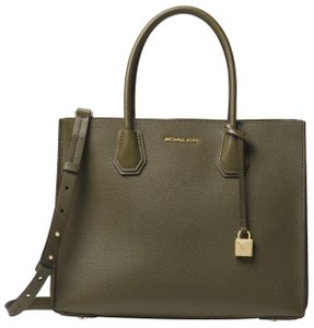 ffd5ecca066d Added to Shopping Bag. Michael Kors Leather 30f8gm9t3t Tote in Olive. Michael  Kors Mercer Large Pebbled Accordion ...