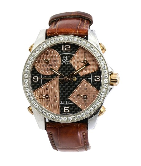 Preload https://img-static.tradesy.com/item/24504121/jacob-and-co-gold-and-stainless-steel-co-five-time-zones-diamonds-watch-0-1-540-540.jpg