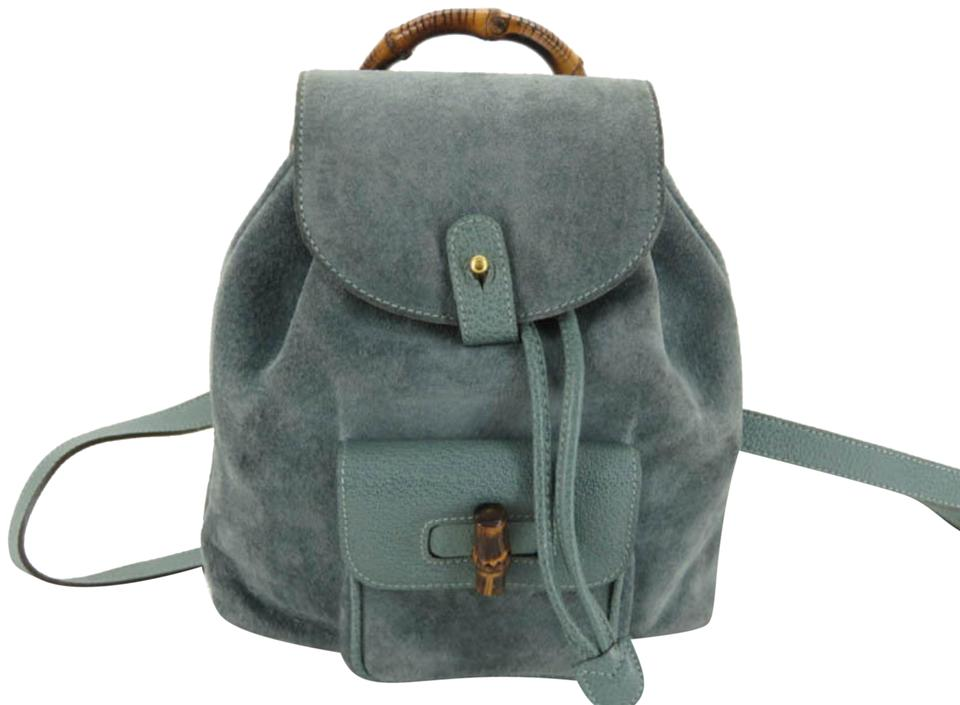 Gucci Blue-green Bamboo Mini 869093 Blue Suede Leather Backpack ... 0df5fe6e85277