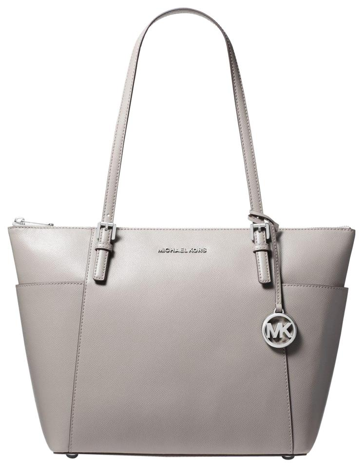 caf47644ce37 Michael Kors Jet Set Large Top-zip Saffiano Pearl Grey Leather Tote ...