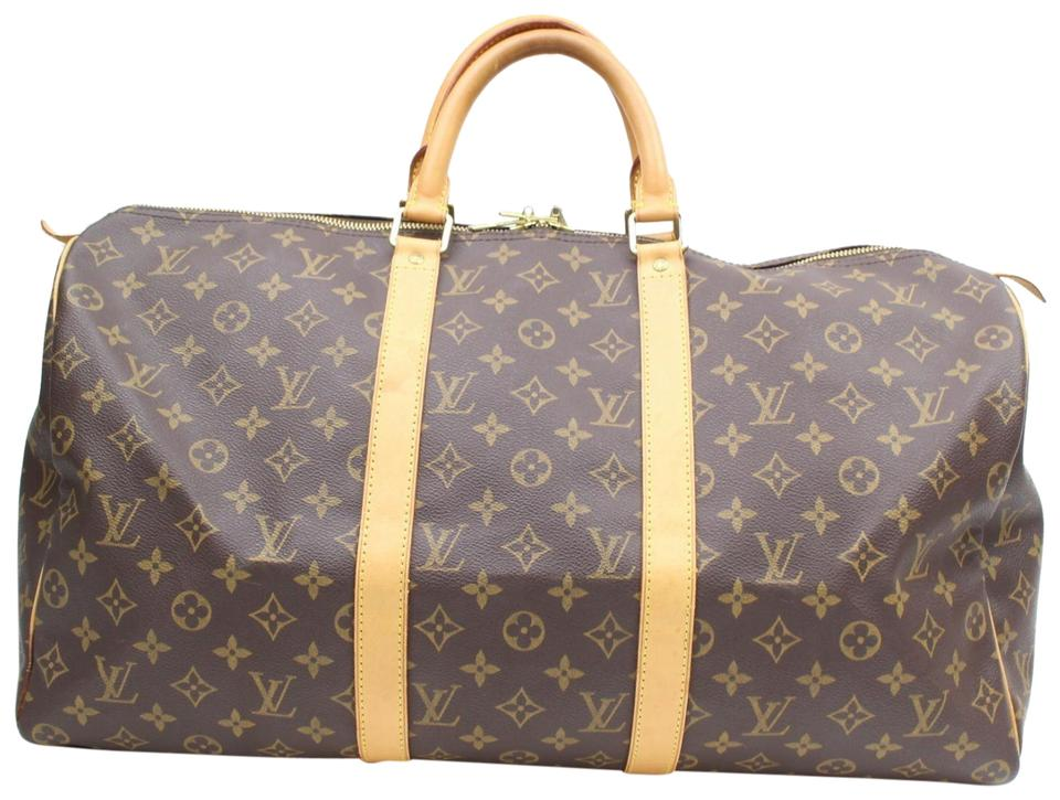 1aa0ae85f27d Louis Vuitton Keepall Monogram 50 869098 Brown Coated Canvas Weekend Travel  Bag