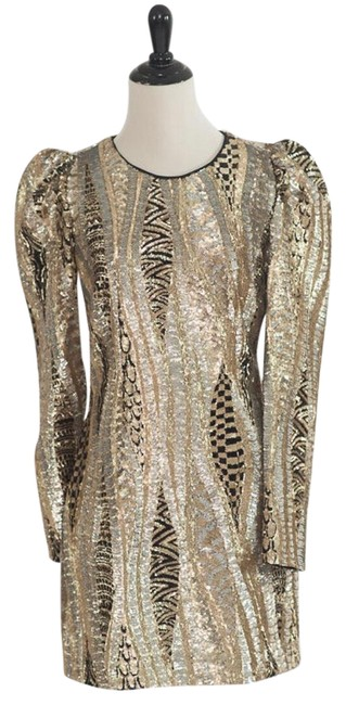 Marciano Black Gold Silver Sequin Party Short Night Out Dress Size 4 (S) Marciano Black Gold Silver Sequin Party Short Night Out Dress Size 4 (S) Image 1